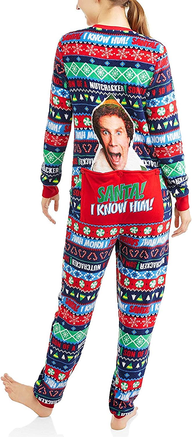 NEW Buddy Elf Union Suit Pajamas One Piece Christmas Movie Women's Size Xl 16-18