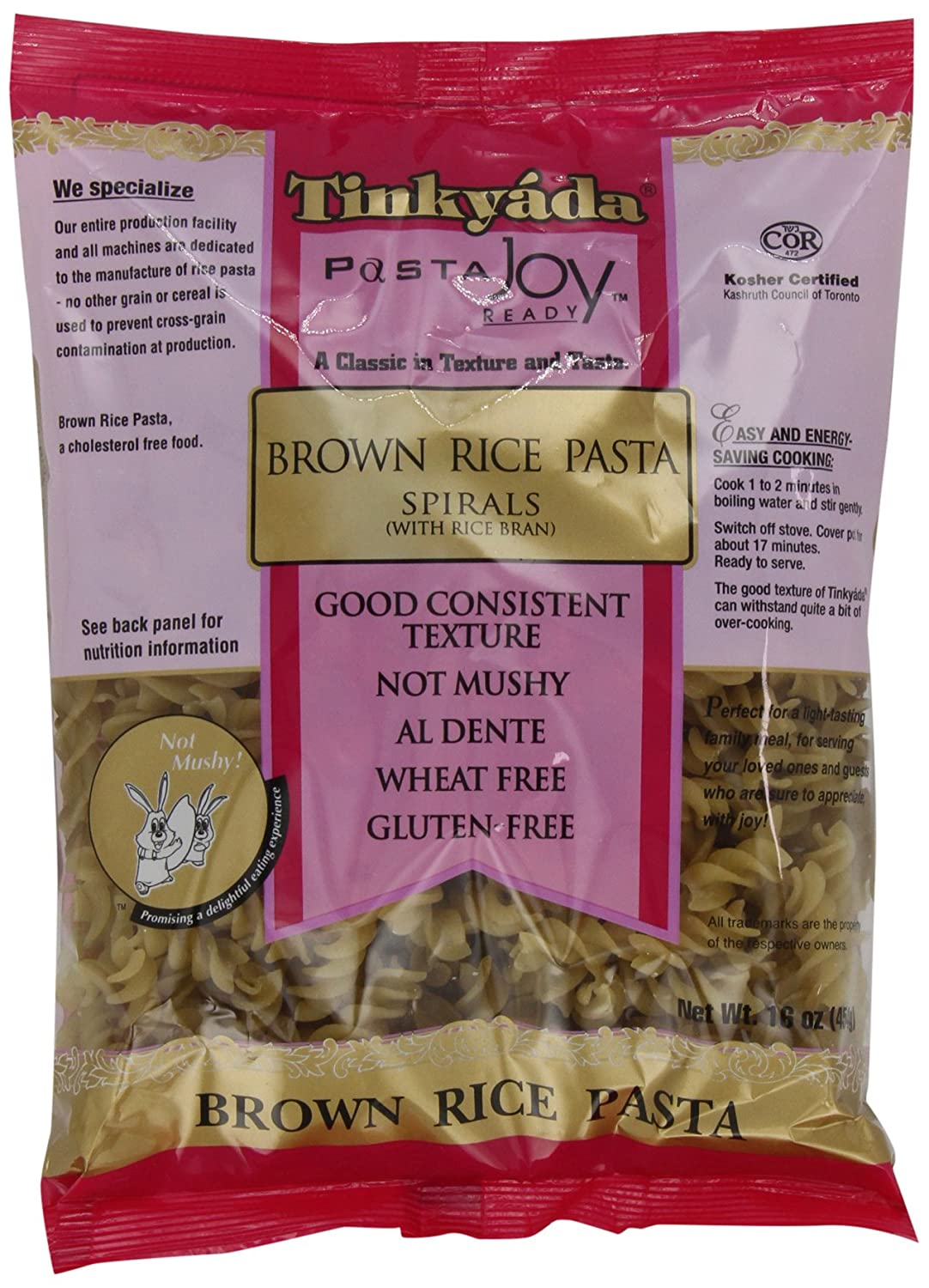 Amazon : Tinkyada Brown Rice Pasta, Spirals, 16 Ounce (pack Of 12) : Rice  Noodles : Grocery & Gourmet Food