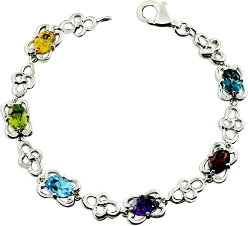 10 Cts Rhodium-Plated Finish RB Gems Sterling Silver 925 Tennis Bracelet GENUINE GEMS Square and Round 6 mm