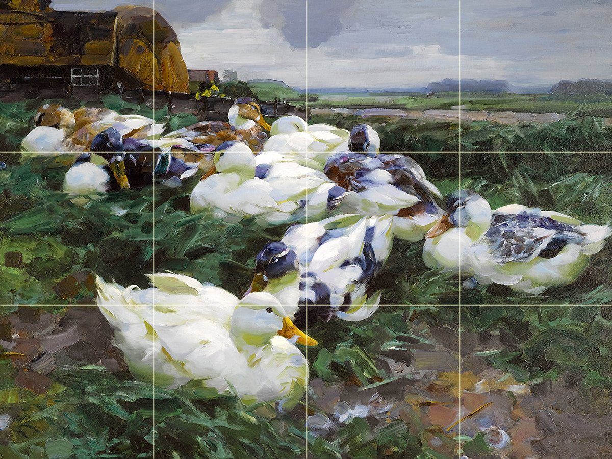DUCKS IN A FIELD by Alexander Koester birds Tile Mural Kitchen Bathroom Wall Backsplash Behind Stove Range Sink Splashback 4x3 6'' Rialto by FlekmanArt