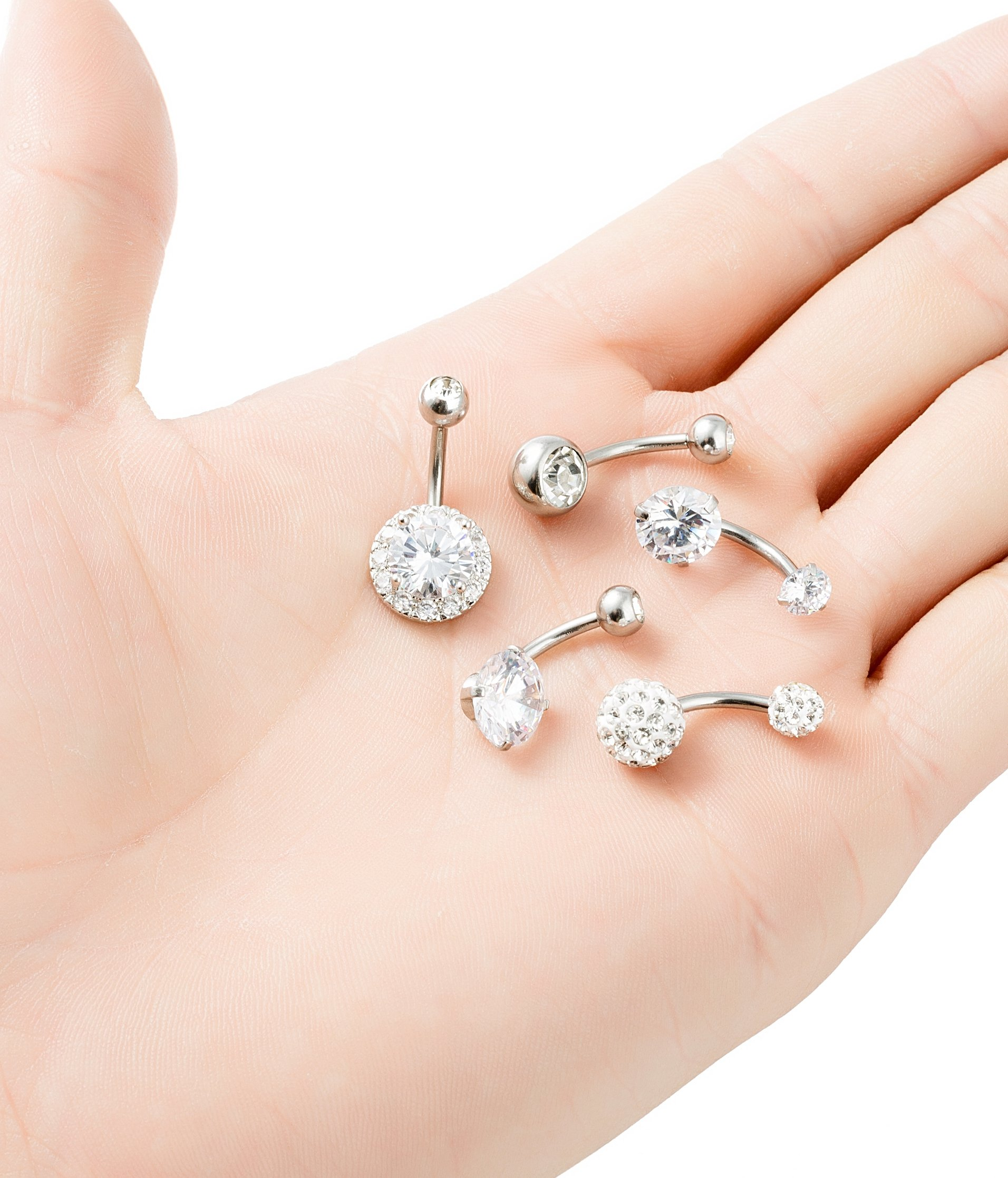 REVOLIA 5Pcs 14G Stainless Steel Belly Button Rings for Women Girls Navel Rings CZ Body Piercing S by REVOLIA (Image #7)