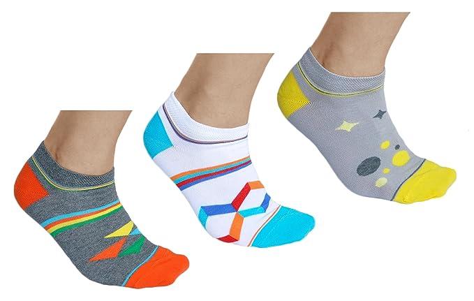 vitsocks Calcetines Bajos de Colores Hombre Fantasia (3x Multipack) Motivos Geométricos, Sneaker,