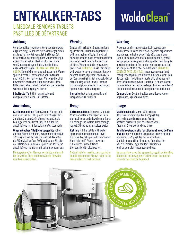 Descalcificador Cafetera Pastillas de descalcificación - 50x 16g Tabletas para máquina de café, Compatible con marcas Delonghi, Dolce Gusto, Nespresso, ...