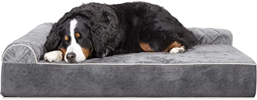 Amazon Com Furhaven Pet Dog Bed Deluxe Orthopedic Goliath Quilted Faux Fur And Velvet L Shaped Chaise Lounge Living Room Corner Couch Pet Bed With Removable Cover For Dogs And Cats