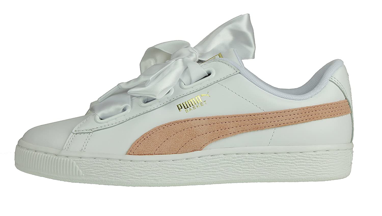 Puma Women Basket Heart Women Running Shoes Sneakers White - Coral 7 ... 8fc24140ebab