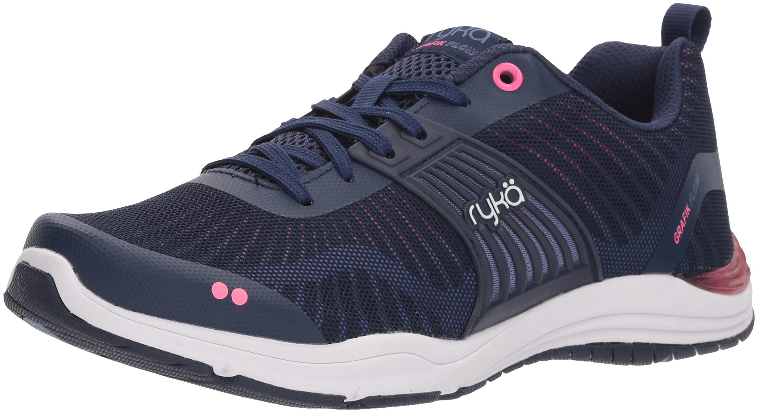 Ryka Women's Grafik Flow Cross Trainer, Blue/Pink, 7.5 M US