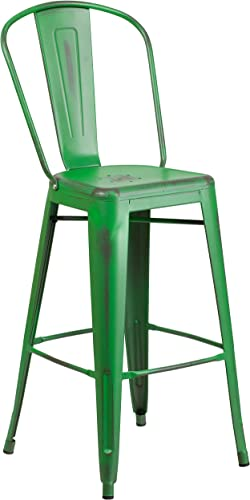 Flash Furniture Commercial Grade 30″ High Distressed Green Metal Indoor-Outdoor Barstool Review