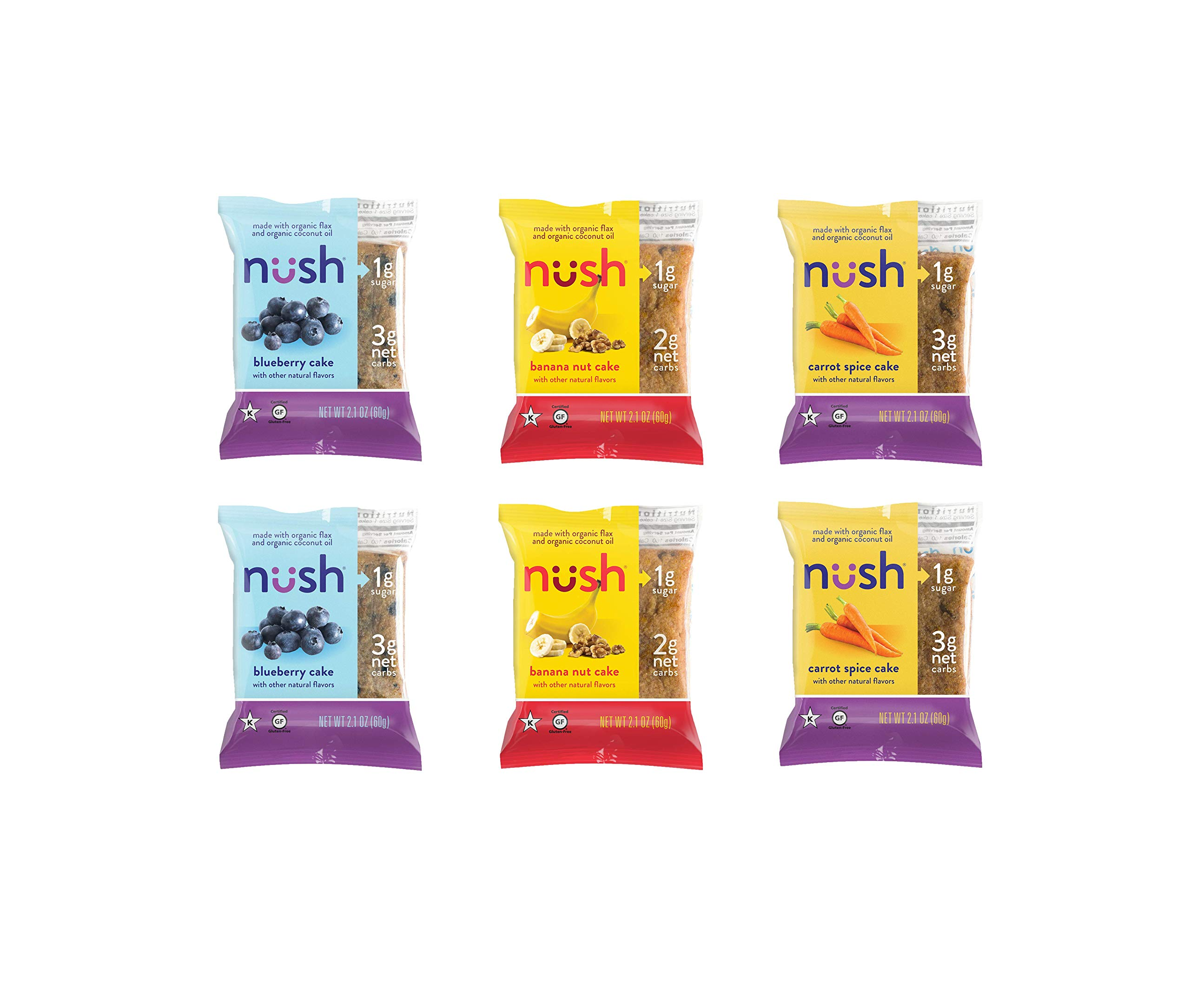 Low Carb Keto Snack Cakes (Flax-Based) Best-Sellers Variety Case - Blueberry, Carrot Spice and Banana Nut - Gluten Free, Soy Free, Organic, No Added Sugar - Great for Ketogenic Diet by Nush Foods