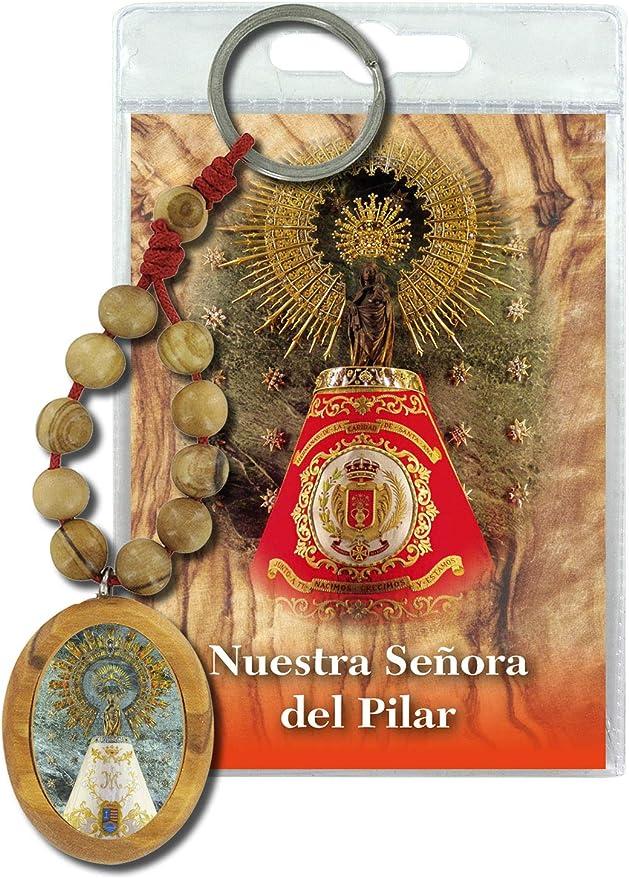 Ferrari & Arrighetti Llavero Virgen del Pilar con decenario en Madera de Olivo y oración en español: Amazon.es: Hogar