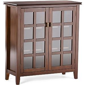 Simpli Home AXCHOL007 Artisan Solid Wood 38 Inch Wide Contemporary Medium  Storage Cabinet In Medium Auburn
