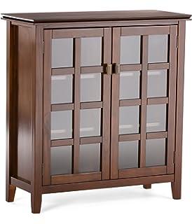 Amazon.com: Simpli Home Acadian Medium Storage Cabinet, Rich ...