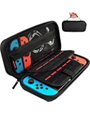 Carrying Case for Nintendo Switch with 20 Game Cartridges, Protective Hard Shell Travel Carrying Case Pouch for Nintendo Switch Console & Accessories, Black