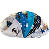 Lovjoy Bandana Drool Baby bibs (5 PACK - SIMPLY BLUE) Super Absorbent & Soft for Ultimate Comfort with Adjustable Snaps- Cute Baby Gift for Boys & Girls.