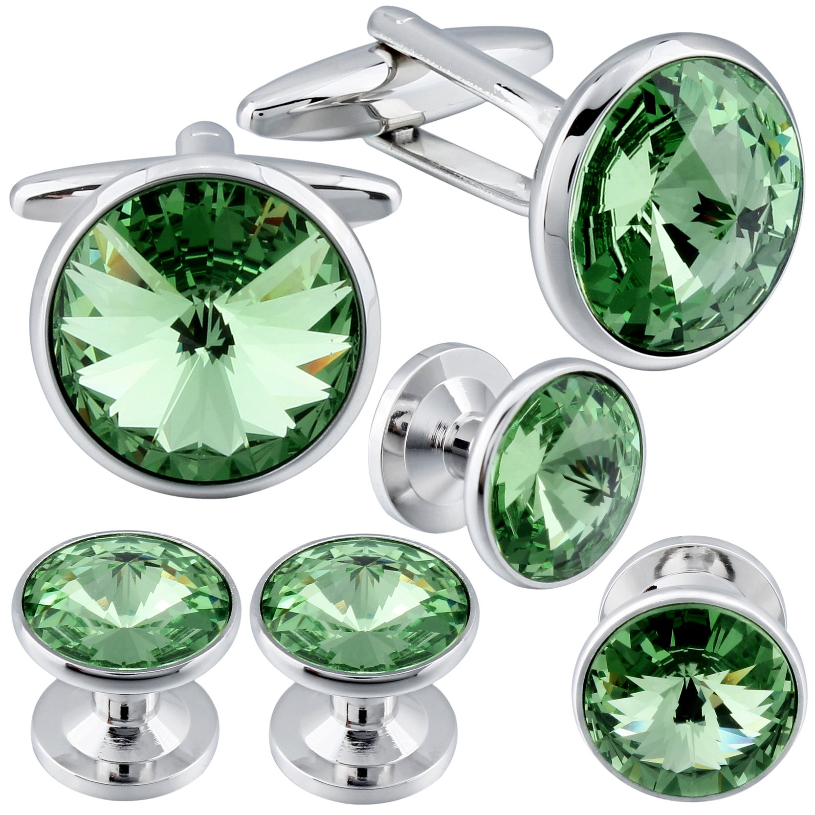 HAWSON Cufflinks and Studs Tuxedo Set Silver Color with Swarovski Crystals in Green