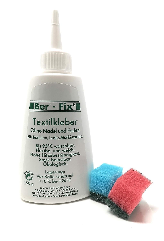 Ber-Fix Colle tissu, lavable à 95°C pour cuir, tissu en cuir et en néoprène, 150ml FoxFix
