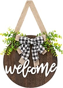 Dahey Rustic Welcome Sign with Artificial Eucalyptus Front Door Decor Round Wood Hanging Sign Farmhouse Porch Decorations for Home Outdoor Indoor, Brown
