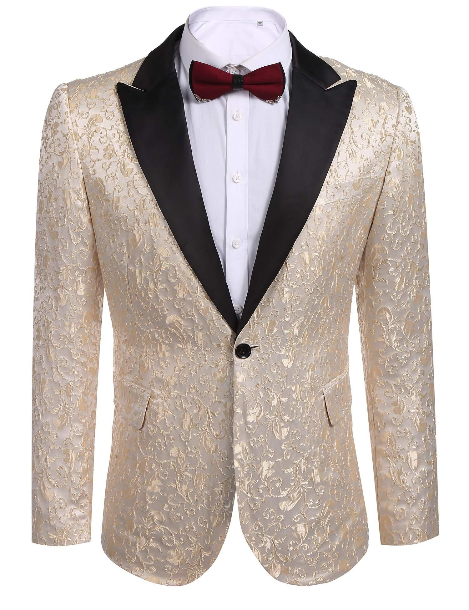 COOFANDY Men's Floral Party Dress Suit Stylish Dinner Jacket Wedding Blazer One Button Tuxdeo,Golden,US L