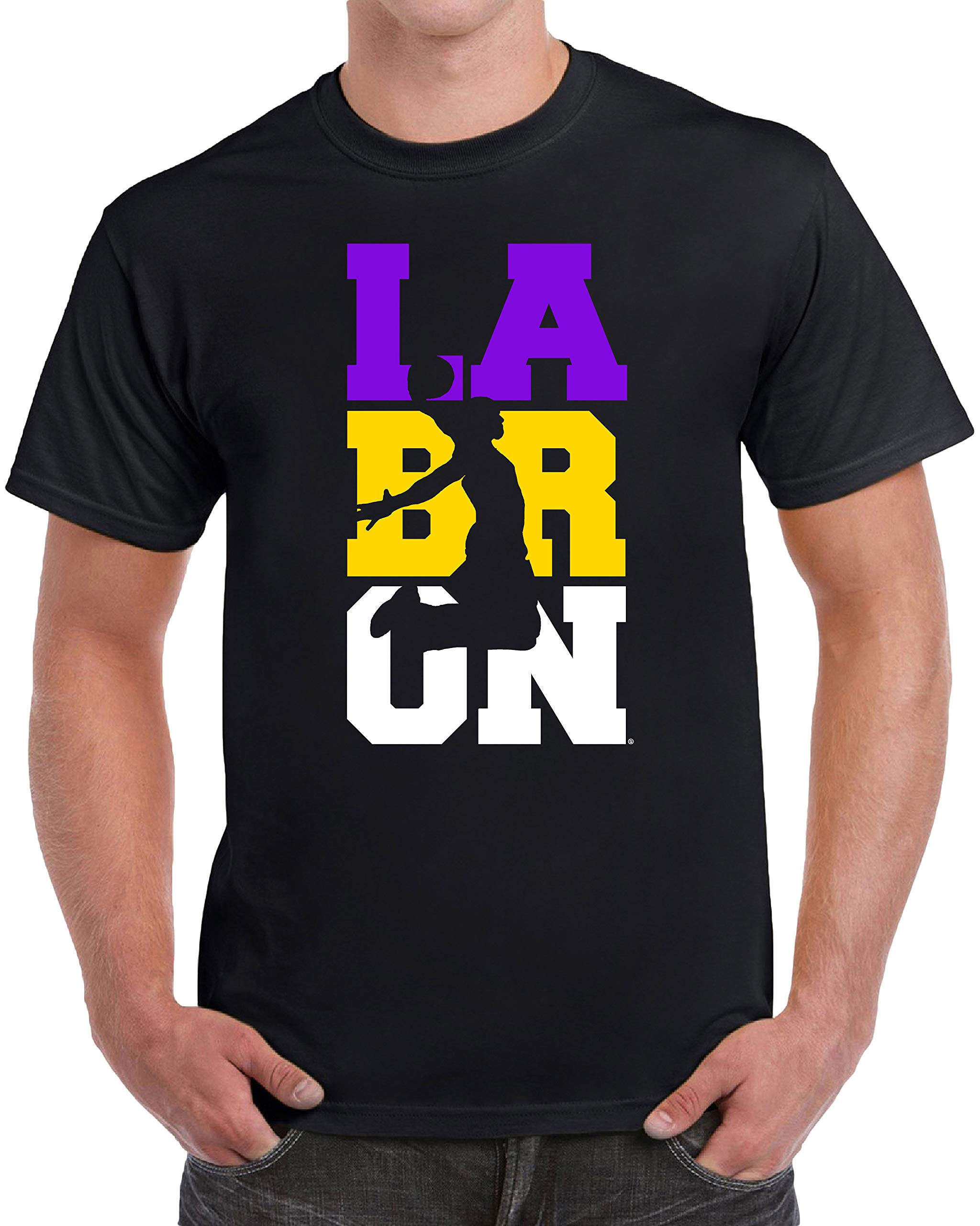 tees geek LaBRON Basketball Men's T-Shirt - (Small) - Black by tees geek