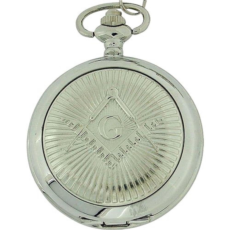 9ed54d4e0 Amazon.com: Boxx Gents Masonic Silver Tone Mechanical Pocket Watch on 12  Inch Chain BOXX304: Watches