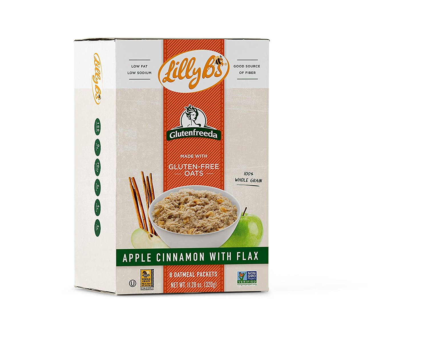 Lilly B's Gluten Free Instant Oatmeal, Apple Cinnamon with Flax, 8-packet Per Box (Pack of 8) (BXD- 123)