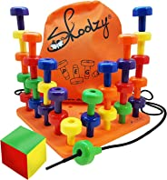 Skoolzy Peg Board Set - Montessori Toys for Toddlers, Preschool Kids | 30 Lacing Pegs for Learning Games, Dice Colors Sortin