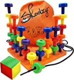 Skoolzy Peg Board Set - Montessori Toys for Toddlers and Preschool Kids | 30 Pegs for Learning Colors, Sorting Counting - 30pg Occupational Therapy Fine Motor Skills Activity Pegboard Download