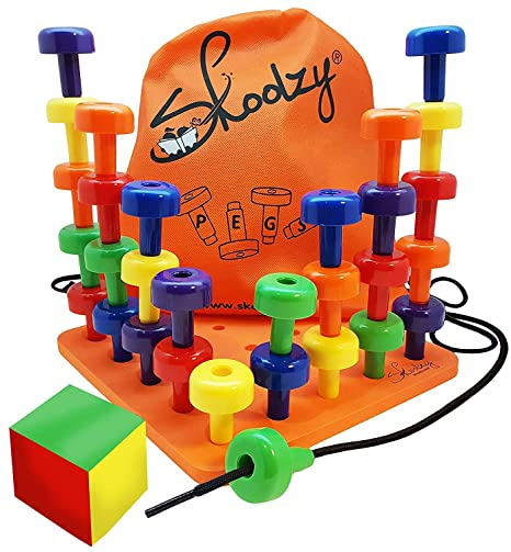 Skoolzy Peg Board Set - Montessori Toys for Toddlers and Preschool Kids |  30 Pegs for Learning Colors, Sorting Counting - 30pg Occupational Therapy  ...