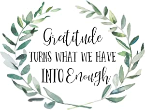Christian Wall Art | Bible Verse | Home Decor | Inspirational Art | Scripture Art Print | Gratitude Turns What We Have Into Enough (11x14)