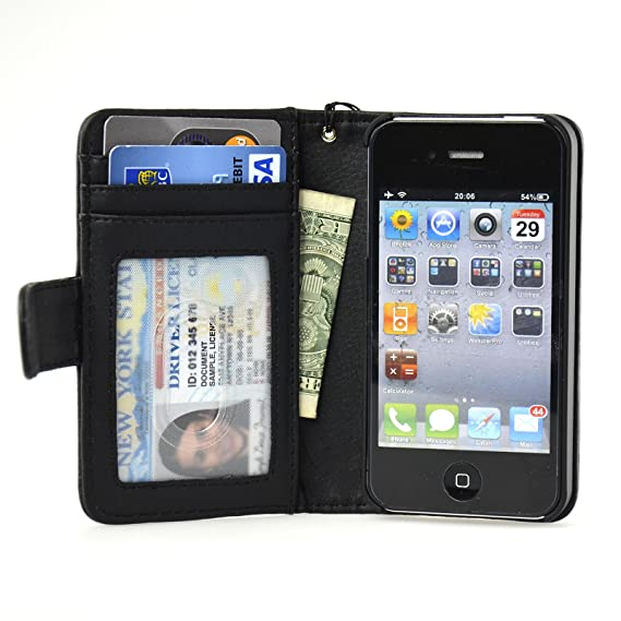 finest selection 00461 36983 New Deluxe Folio Wallet Leather for iPhone 4 4S Case Multifunctional -  Pockets to Keep Your Belongings Safe - Available in Black