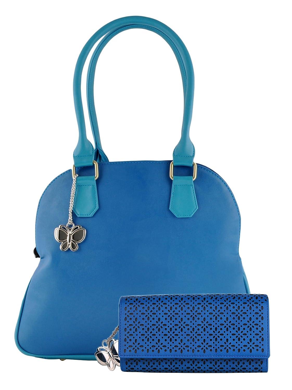 Butterflies Women's Shoulder Bag Set of 2 Pcs Blue Handbag With Wallet Clutch