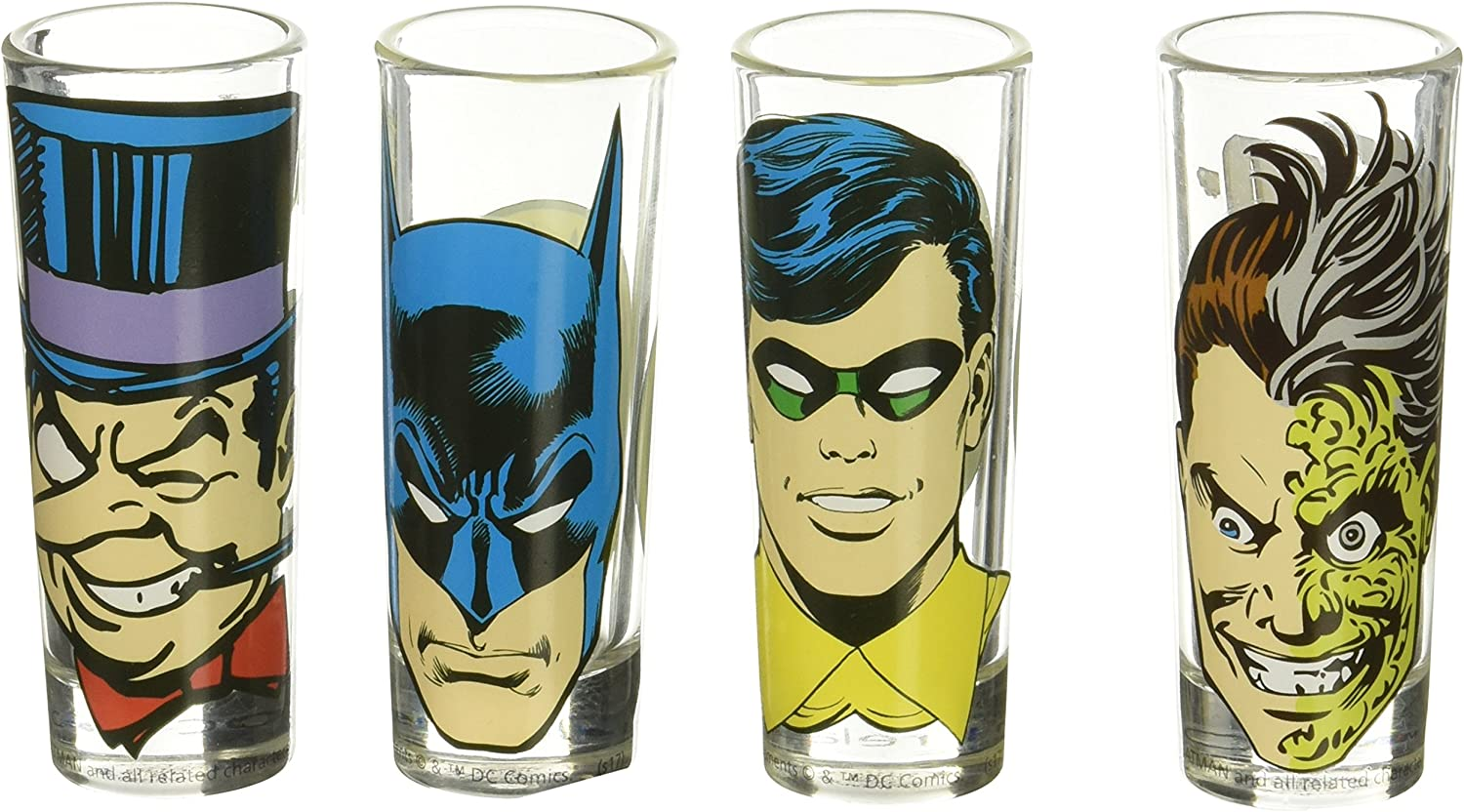 2 oz Multicolor Zak Designs JUSG-S430 Justice League Comics Mini Glass 4 Piece Window box