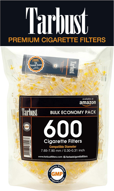 Tarbust Filtros para Cigarrillos, Filtros Desechables, Paquete Económico, 600 por Paquete | Con il Sistema de Bloqueo de Nicotina, de Alquitrán
