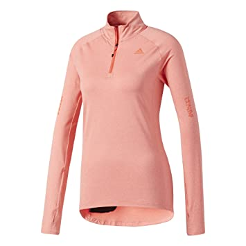 339f1388 adidas Supernova Women's Half Zip Running Shirt Coral Longsleeves ...