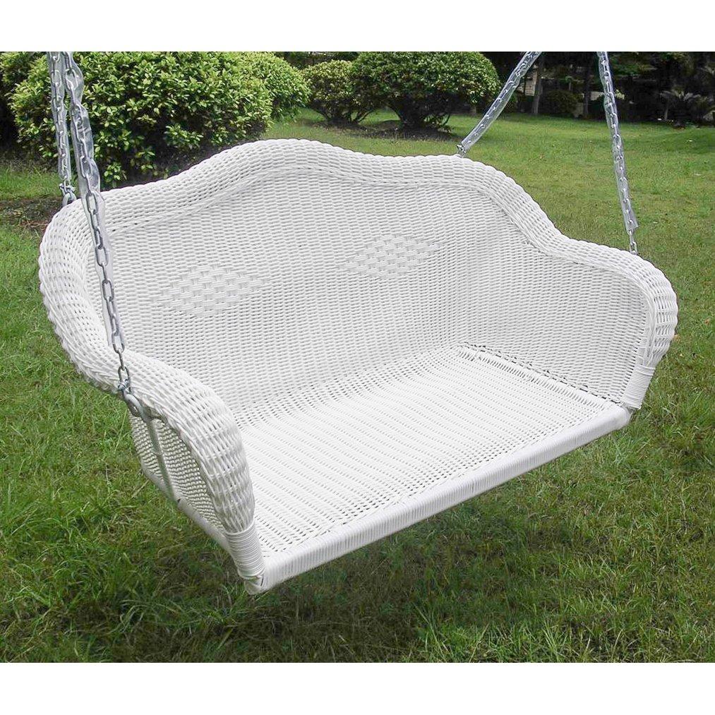 International Caravan 3183-WT-IC Furniture Piece Resin Wicker Hanging Loveseat Swing by International Caravan