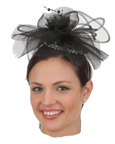 Amazon.com  Jacobson Hat Company J26406 Black Silver Fascinator ... 9b6c764c1f5