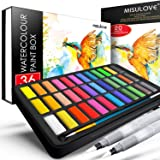 MISULOVE Watercolor Paint Set, 36 Premium Colors in Gift Box with Bonus Watercolor Paper Pad and Water Brushes, Perfect for K