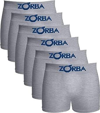 Kit com 6 Cuecas Zorba Boxer Algodão Sem Costura Infantil 678 Cinza