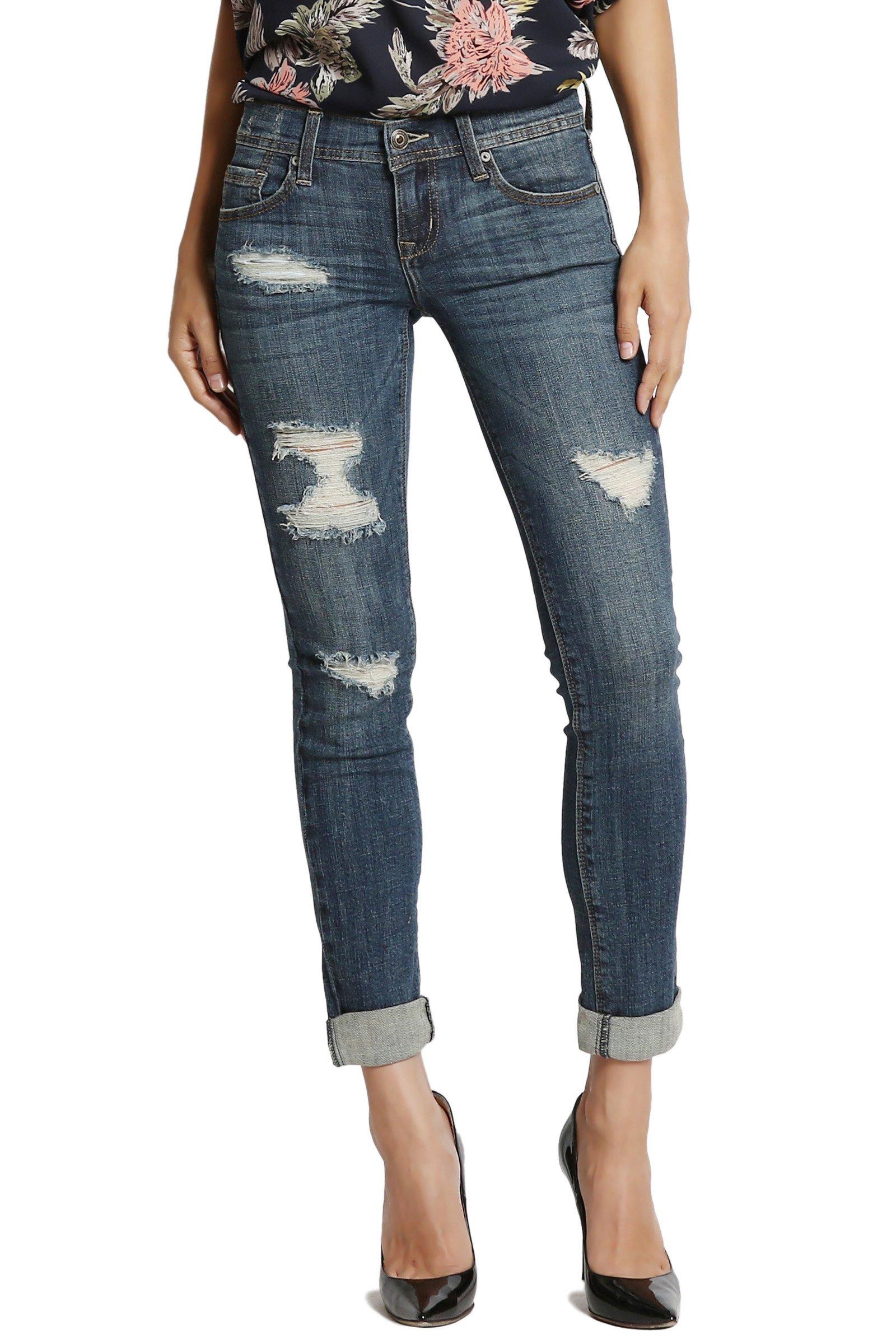 70ae95e3209 TheMogan Vintage Distressed Washed Stretch Denim Skinny Jeans ...