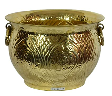 Tangerine Handcrafted Decorative Brass Planter Pot with Lacquer Finish/Polish- Size 10 x 14