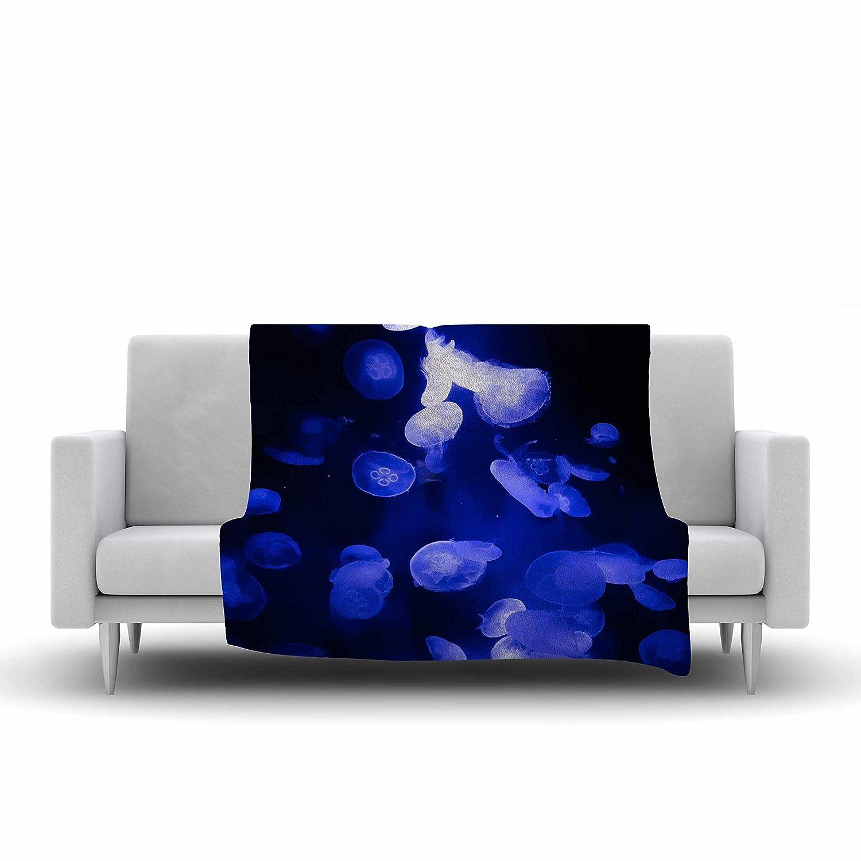 Kess InHouse Juan Paolo Jellyfish Blue Black Fleece Throw Blanket 60 by 50-Inch 60 X 50