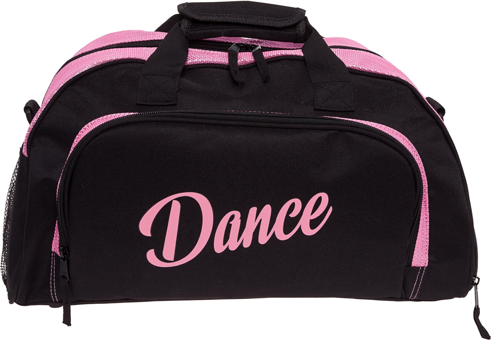 Silver Lilly Womens Nylon Dance Duffel Gym Bag w/Shoe Compartment (Black/Pink, One Size)