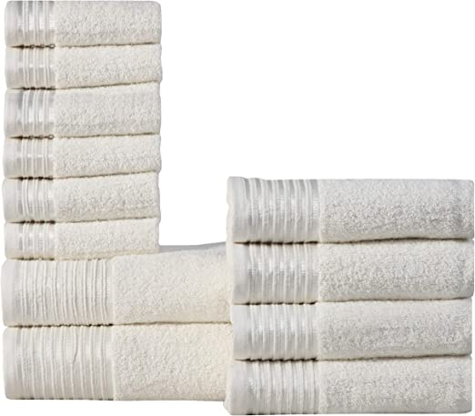 EGYPTIAN COTTON 6pc BATH TOWEL SET THICK SOFT 600gsm Ivory **FREE DELIVERY**