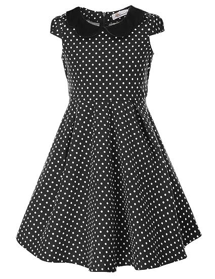 Danna Belle Vestido Vintage de Lunares de Niñas Años 50 para ...