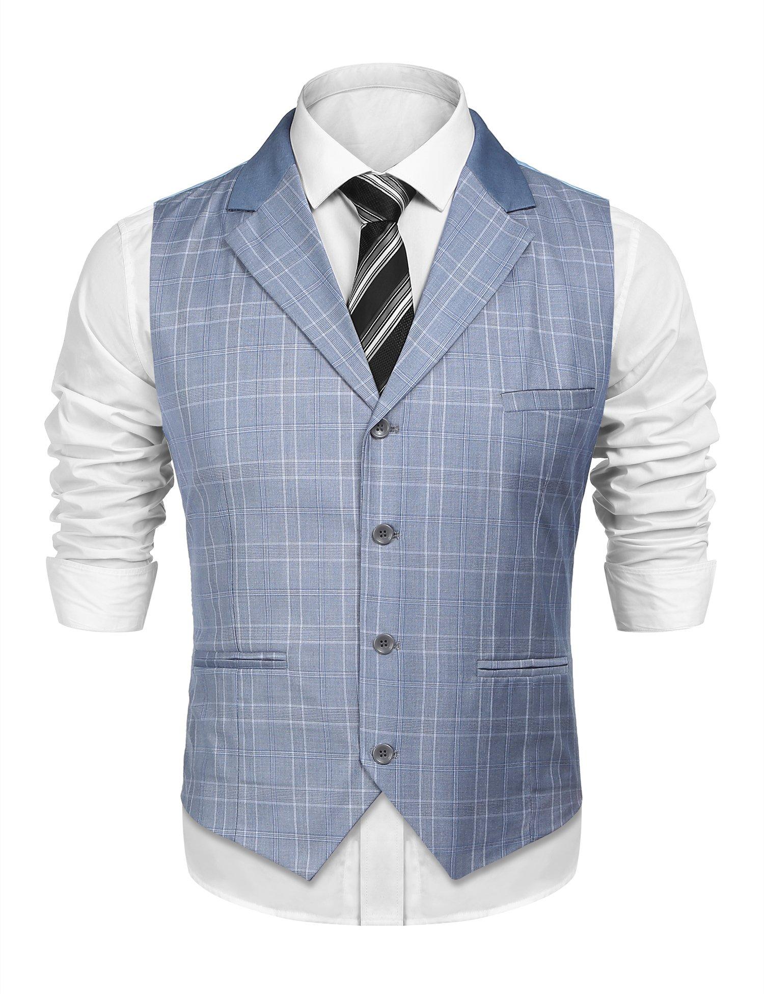 JINIDU Mens Business Suit Vest Casual Lapel Plaid Skinny Waistcoat Sleeveless Jacket