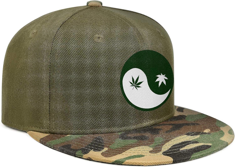 Cannabis Weed Yinyang Unisex Baseball Cap Lightweight Fishing Caps Adjustable Trucker Caps Dad-Hat