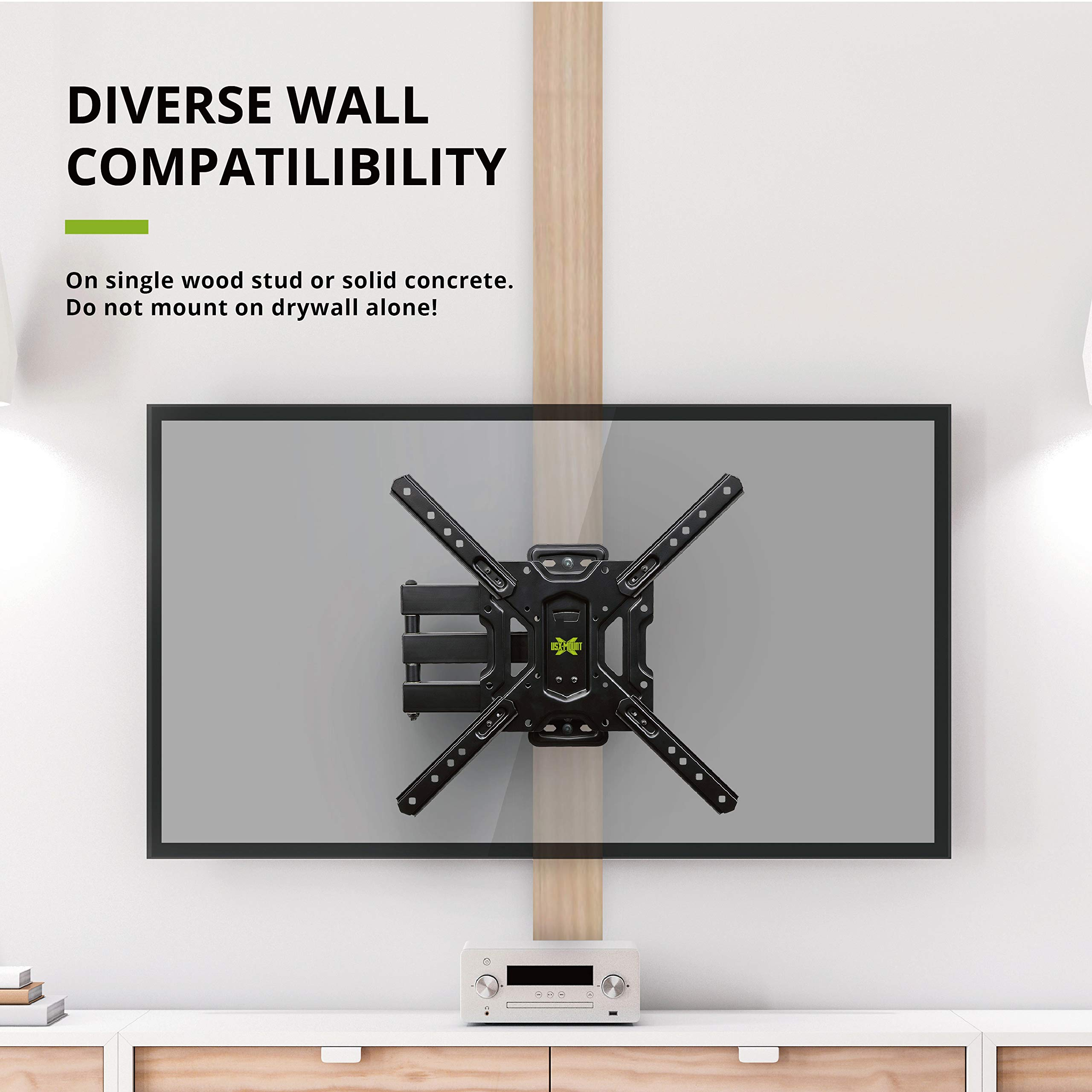 USX MOUNT Full Motion Swivel Articulating Tilt TV Wall Mount Bracket for 26-55'' LED, OLED, 4K TVs-Fit for 32, 40, 50 TV with VESA Up to 400x400mm-Weight Capacity Up to 60lbs by USX MOUNT (Image #5)