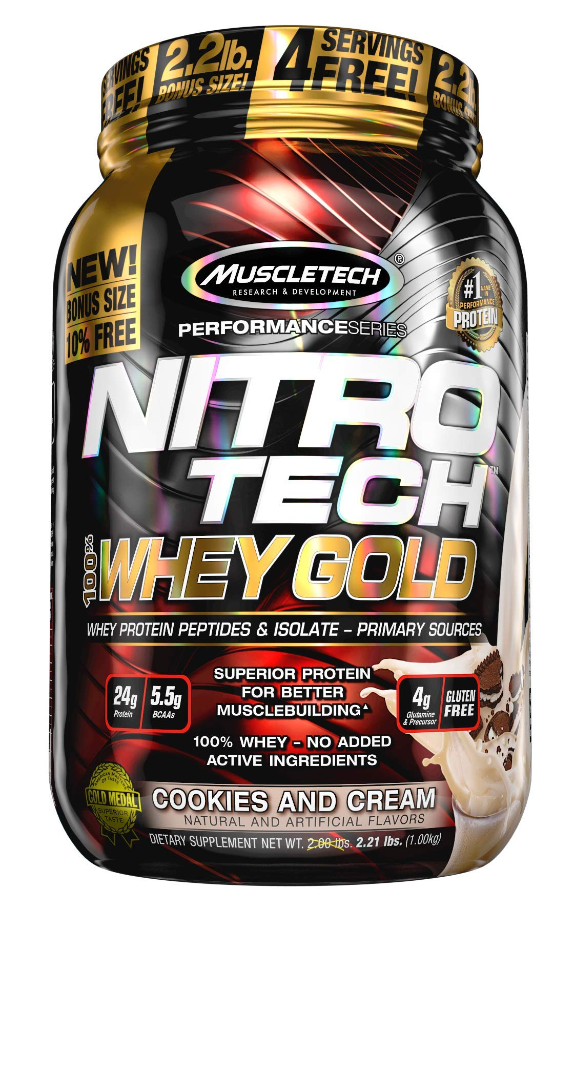 Mua MuscleTech Nitro-Tech Whey Gold Protein Powder, Whey Isolate and  Peptides, 24 Grams Protein, 5.5 Grams BCAAs, Easy to Mix, Tastes Great,  Gluten-Free, Cookies and Cream, 2.2 Pounds (31 Servings) trên Amazon