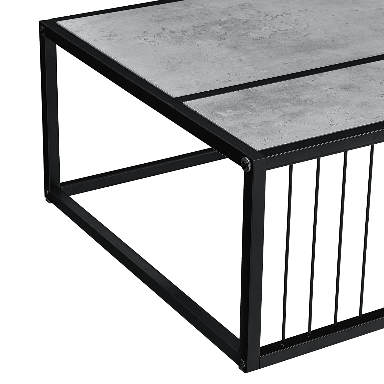 Telaio in accaio Tavolino da salotto moderno en.casa Effetto calcestruzzo 100cm x 60cm x 3 cm
