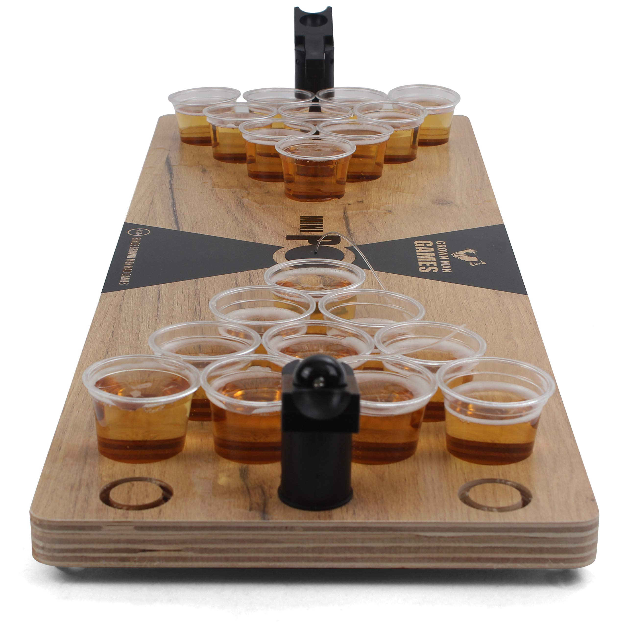 Grown Man Games Mini Beer Pong - Drinking Game - Party Game - Beer Game - Tabletop Beer Pong Table - Mini Pong Mini Game - Tabletop Beer Pong Set by Grown Man Games