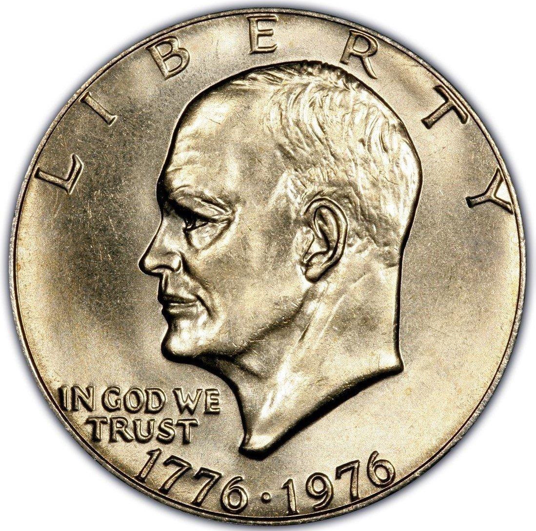 1776-1976 Eisenhower Apollo 11 Liberty Bell One Dollar US Bicentennial Coin